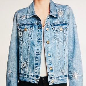 PISTOLA Jacket Jean Faded Denim Starbursts New XS